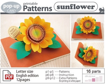 pop-up card__Pattern__sunflower_ (digital download file)