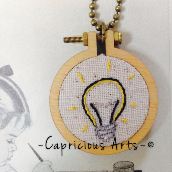 I've Got an Idea Hand Embroidered Mini Hoop Art Necklace. Light Bulb, Whimsical, Hand Embroidered