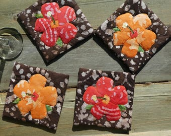 Hibiscus Coasters (brown)