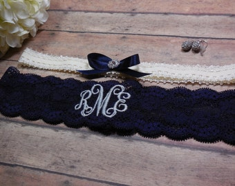 Monogrammed Garter,  Something Blue, Blue Garter, Personalized Garter, Garter, Navy Garter, Wedding Garter, Brides Garter, Bride, Wedding