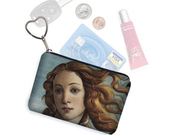 Credit Card Holder Small Zipper pouch Coin Purse Keychain Key Fob Business Card Case  Change Purse in Birth Of Venus  blue gold black RTS