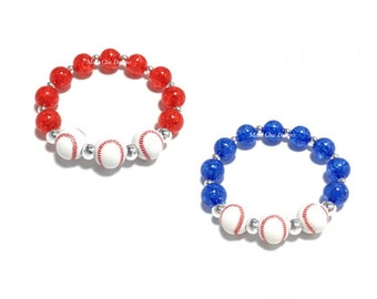 Toddler or Girls Small Beaded Baseball Bracelet - Red Baseball Bracelet - Blue Baseball Bracelet Bracelet - Baseball Birthday Theme - Girly