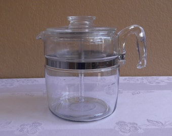 Pyrex Flameware 9 Cup Percolator; No 7759 Complete with Lid, Stem, Basket, and strainers