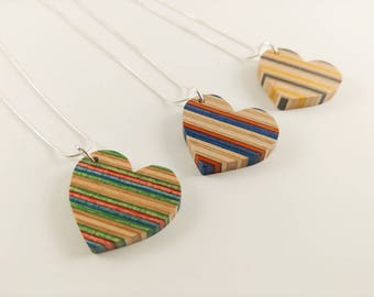 Upcycled Recycled Repurposed - Wood Jewelry - Recycled Necklace - Skateboard Necklace - Heart
