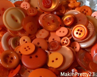 Orange Buttons Mixed Bulk Choose your Quantity 50 or 100, Assorted Sizes, Sewing Buttons Scrapbooking Craft