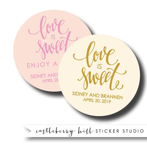 Love is sweet stickers personalized labels thank you stickers
