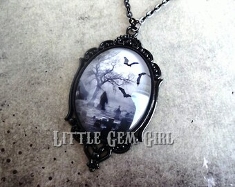 Gothic Cemetery Cameo Necklace - Victorian Cameo in Black or Silver - Grim Reaper Death Pendant Jewelry - Graveyard Bats Halloween Macbre