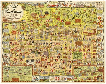 Hollywood Pictorial Map 1928 Vintage Giclee Fine Art Print