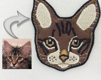 Cat Custom Portrait Patch. Personalized Cat Gift. Textile Art.