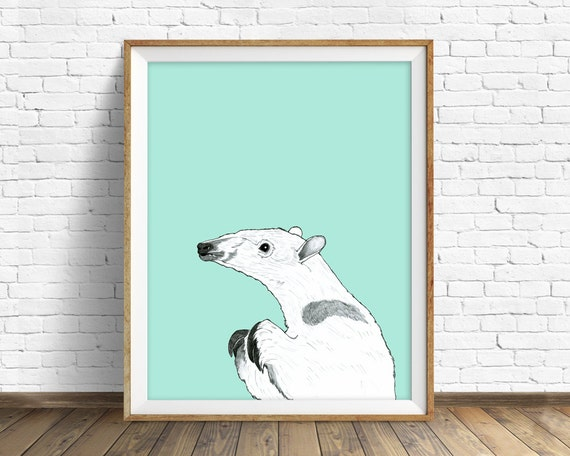 "anteater, anteater print, wall art, art print, large art, large wall art, pastel color, nature prints, woodland nursery, animal - ""Anteater"""