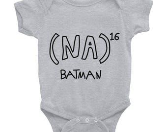 NA to the 16th power Batman Math Equation Infant Bodysuit