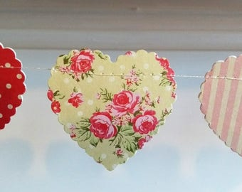 Valentine's Heart Garland, Wedding Garland, Vintage Tea Party Decoration, Heart Banner, Rustic Wedding Garland, Boho Wedding Bunting.