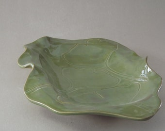 Moss Green Gingko Platter, Serving Dish, Fruit Bowl, Key Catcher, Dresser Organizer, Desk Organizer