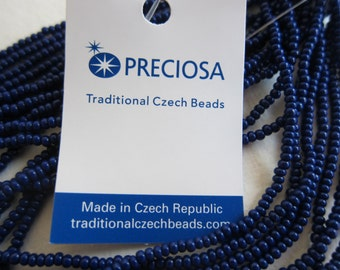 11/0, Preciosa Seed Beads, Opaque Dark Cobalt Blue, #33070 - Available in 1/2 & Full (12-strand) Hanks and in Multi-Hank Pkgs