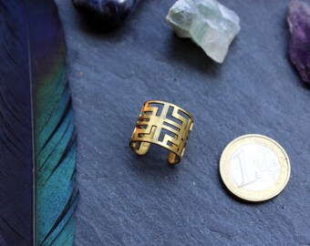 ring labyrinth, geometric ring, ring geometric, geometry, adjustable ring, ring open back