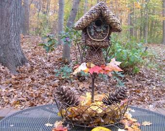 Birdhouse, Tree of Life, pine cone wrapped, gift, handmade birdhouse, functional birdhouse, patio porch decor, garden yard art, ooak