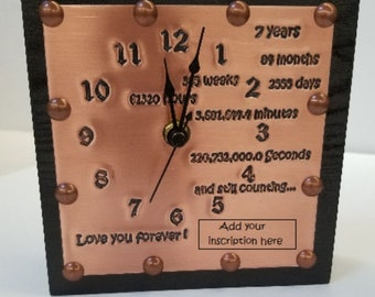 Custom Copper Engraved 7th Anniversary Clock, 7 Year Anniversary Gift for Husband or Wife with names and date, 7th Copper Anniversary