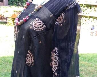 Dress woman ethnic Indian dress brown cocktail Party elegant black gold
