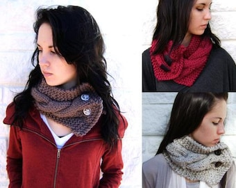 Classic Cabled Cowl Photo Tutorial Pattern- Easy Knitting Pattern - Great For Beginners