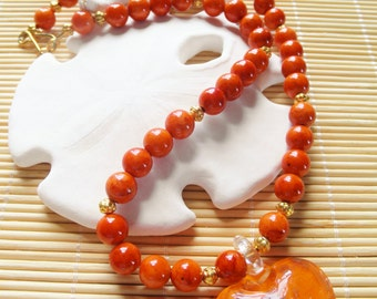 Lampwork Heart Pendant  Necklace