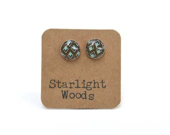 Geometric Brown Stud Earrings, Tiny Round Studs for her, wood earrings by starlight woods