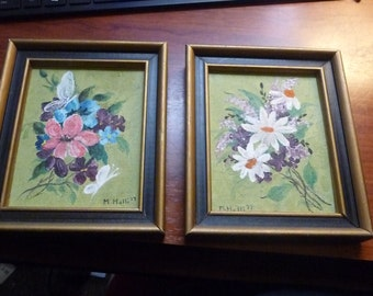 2 Small Floral Oil Paintings  M. Holli 77