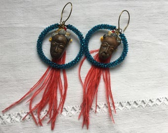 African earrings, African mask ,czech beads , masks, vintage  exotic feathers.