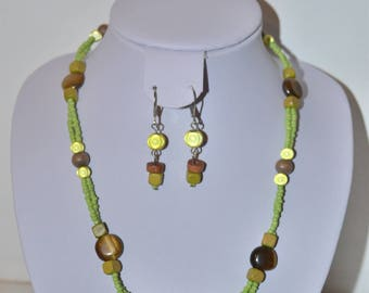 set lime green and Brown Tiger eye