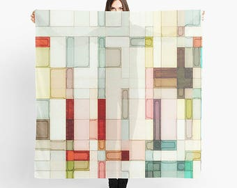 Light Pink, Square Scarf, Watercolor Scarf, Women's Scarf, Abstract Art Scarf, Sheer Scarf, Wearable Art, Lightweight Scarf, Fashion Scarves