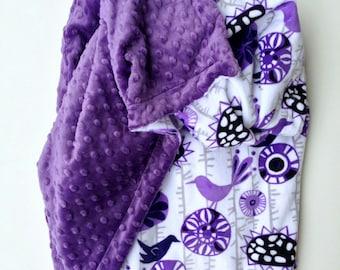 Minky Baby Blanket, Purple Crib Blanket, Baby Girl Blanket, Baby Blanket, Floral Baby Blanket, Crib Size Bedding , Size 36 x 45 in