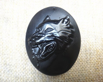 Natural obsidian Wolf Totem Pendant