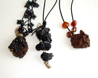 Lava stone necklace, irregular jewelry, pendant necklace, Leather Primitive  Rock Necklace