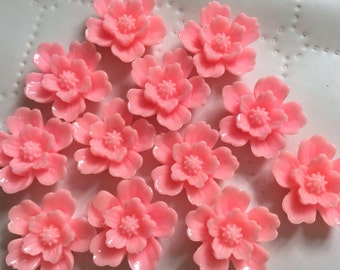 10 pcs 20 mm Sakura Cabochon Flowers,Light pink,pink Sakura flower,pink resin flower,Pink sakura flower,flat back flower,bright pink flower