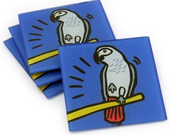 African Grey Parrot Tempered Glass Coasters
