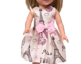 15 inch doll dress Made to fit all 15 inch dolls like Wellie Wisher dolls doll clothes 15 inch doll dress doll dress Paris  doll dress, doll