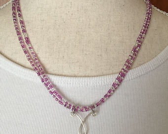 Purple crystal and silver teardrop focal necklace