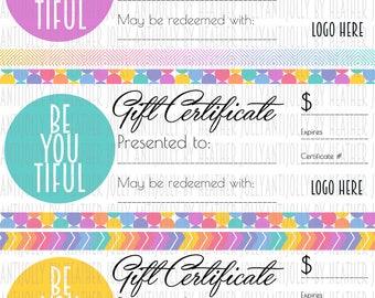 Retailer/Consultant Gift Certificates 8.5x11 - 3up  *****Digital Files*****
