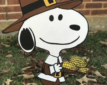 Snoopy Thanksgiving Yart Art / Hand Cut And Hand Painted Custom Wood Yard Art