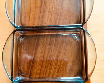 Vintage Mid Century Danish Teak Luthje Wood Serving Tray Glass Inserts