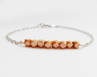 Rose Gold Beads on Silver Chain Bracelet - Rose Gold and Silver Bracelet
