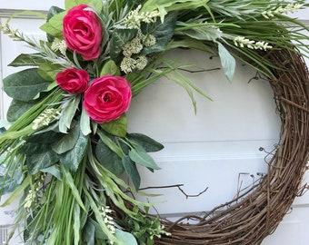 Summer Wreath For Front Door, Front Door Wreath, Farmhouse Wreath, Rustic Wreath, Year Round Wreath, Spring Wreath
