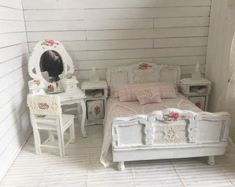 Shabby Chic dollhouse bed room set -Free Shipping to the us