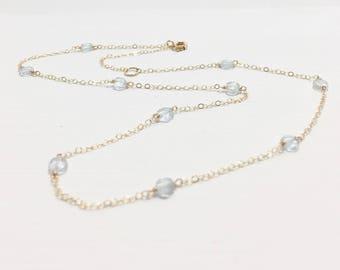 Aquamarine Station Necklace - Aquamarine Necklace - Blue Gemstone By the Yard Necklace - March Birthstone - March Birthday