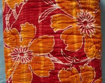 Vintage hand stitched cotton patchwork red/yellow kantha quilt gudari blanket