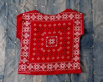 Vintage Red Bandana Top, Fast Color