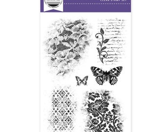 Lace Textures - A6 clear stamp set from Craftwork Cards