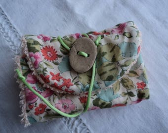 Pouch pink green floral travel SOAP range and blue - Range floral cotton travel SOAP and sponge apricot - SOAP pouch