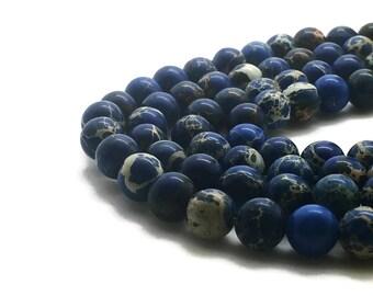 8mm Regalite Beads Dark Blue Round 8mm Regalite 8mm Blue Jasper Aqua Terra Jasper Sea Sediment Jasper Impression Jasper Regalite Blue