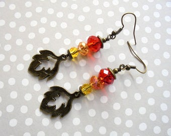 Red, Orange and Yellow Leaf Earrings (3432)