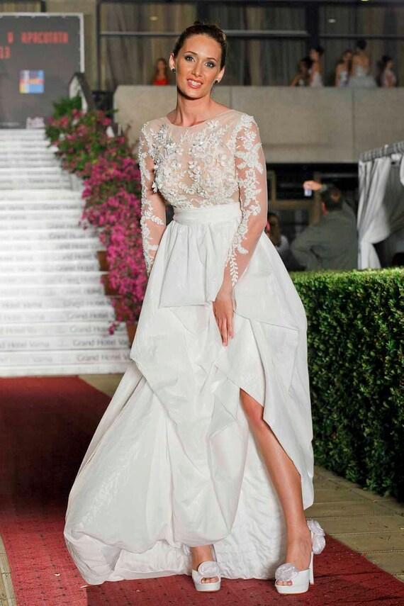 Taft Brautkleid Ärmel einzigartige Hochzeit Sommer Hochzeit